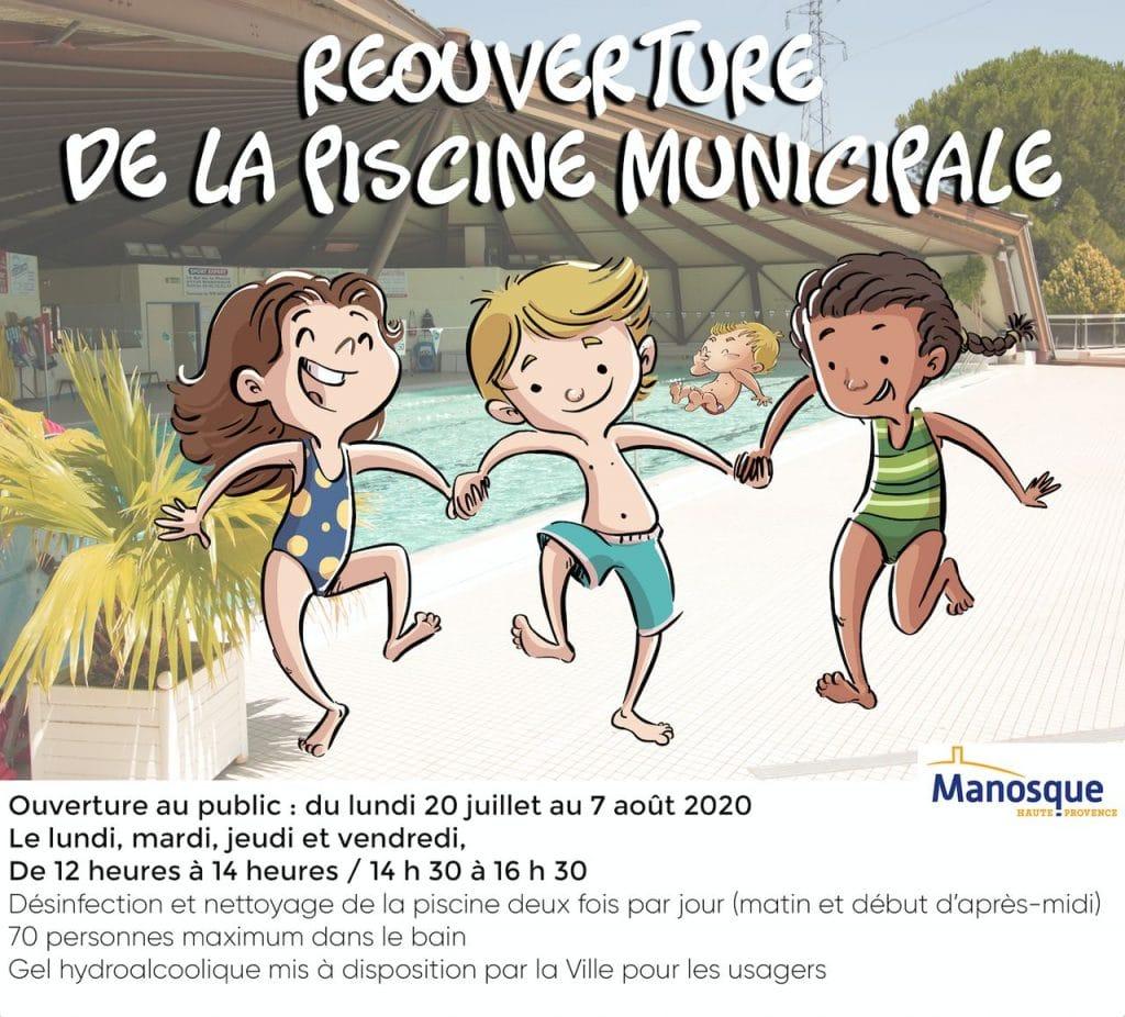 réouverture piscine Manosque été 2020